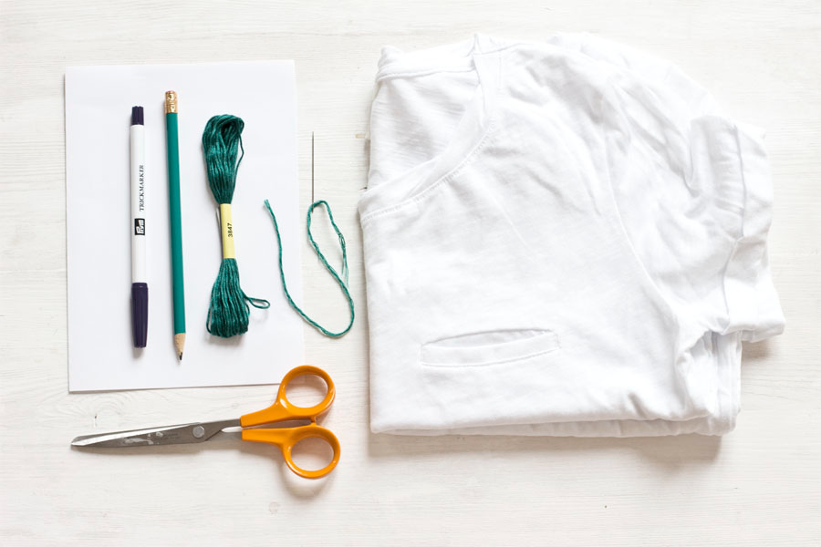 Tools:  Scissors, Embroidery Scissors, Embroidery Needle, 6″ Embroidery Hoop, Iron and Ironing Board, Pressing Cloth.   Materials:  Shirt of choice,  Sulky Tear-Away Stabilizer ,  Iron-On Transfer Pencil , Embroidery Thread,   Embroidery Design Patterns (Free Download)   .