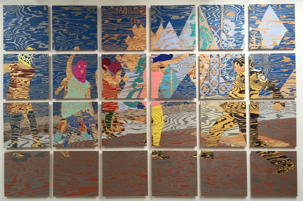 "RIOTOUS, 2016, 102"" x 154"" acrylic on plywood"