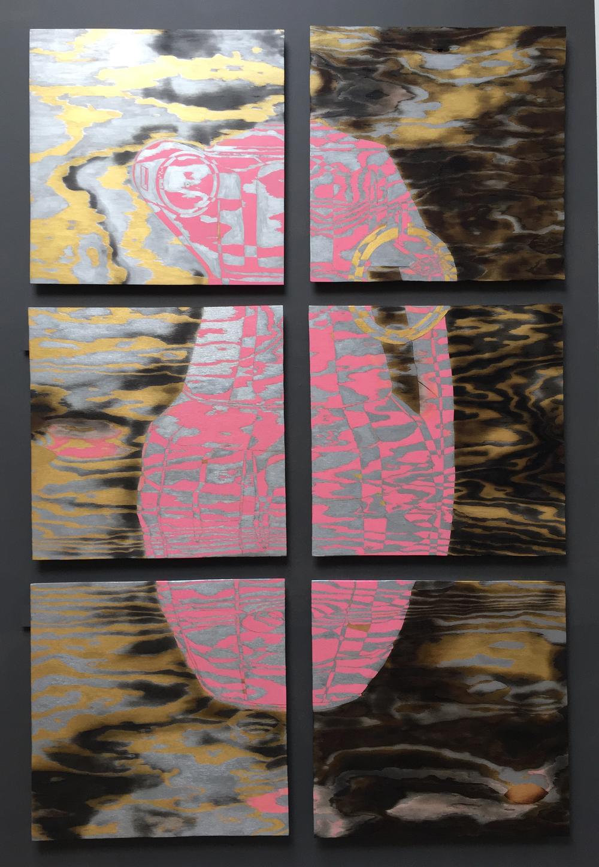 "DISRUPTOR II, 2016 76"" x 50"",acrylic on plywood"