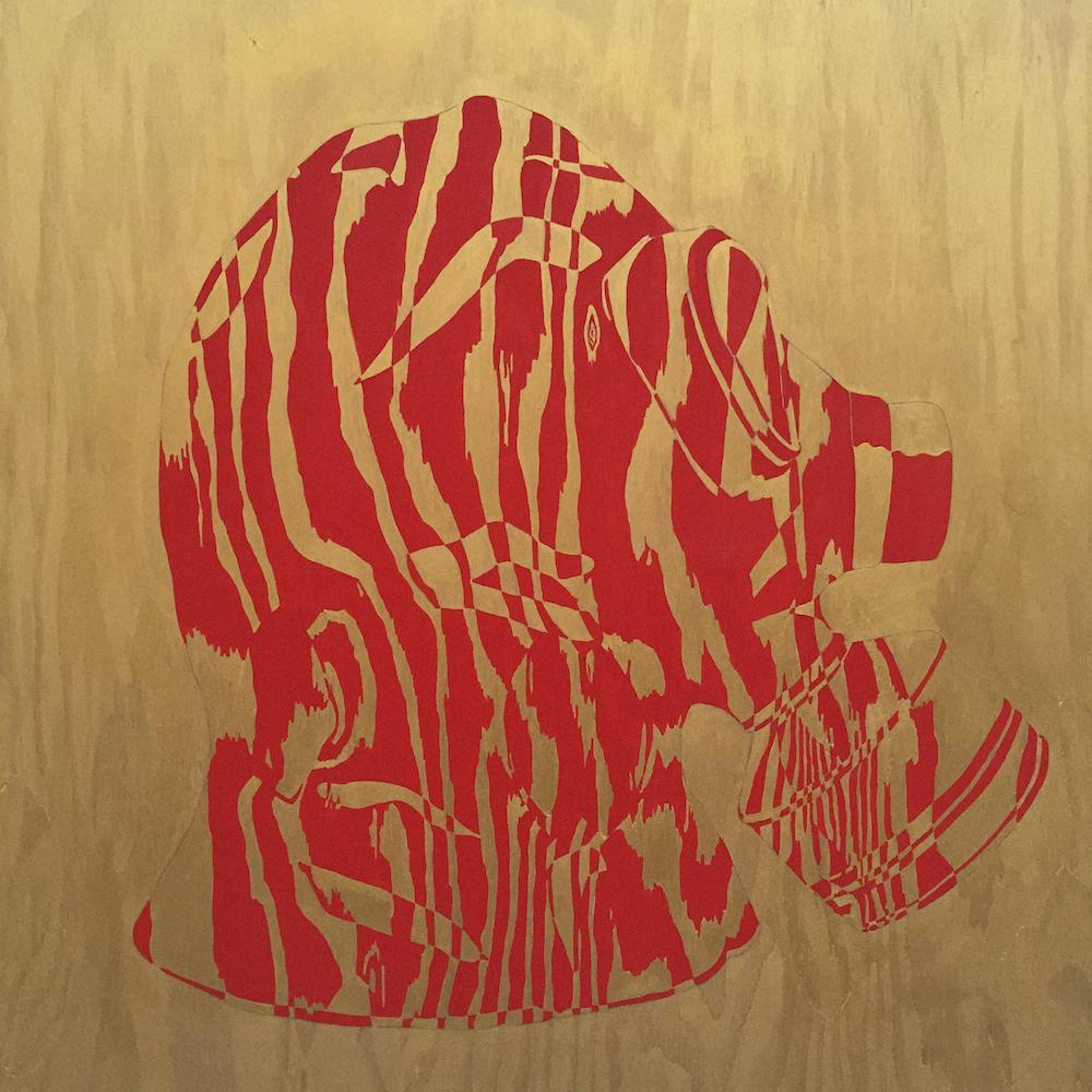 """Gas Mask I, 2015 24"""" x 24"""", acrylic on plywood"""