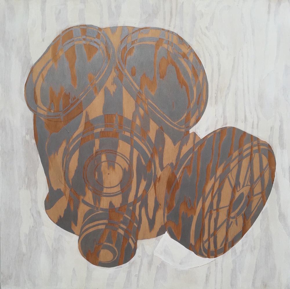 """Gas Mask II, 2015 24"""" x 24"""", acrylic on plywood"""