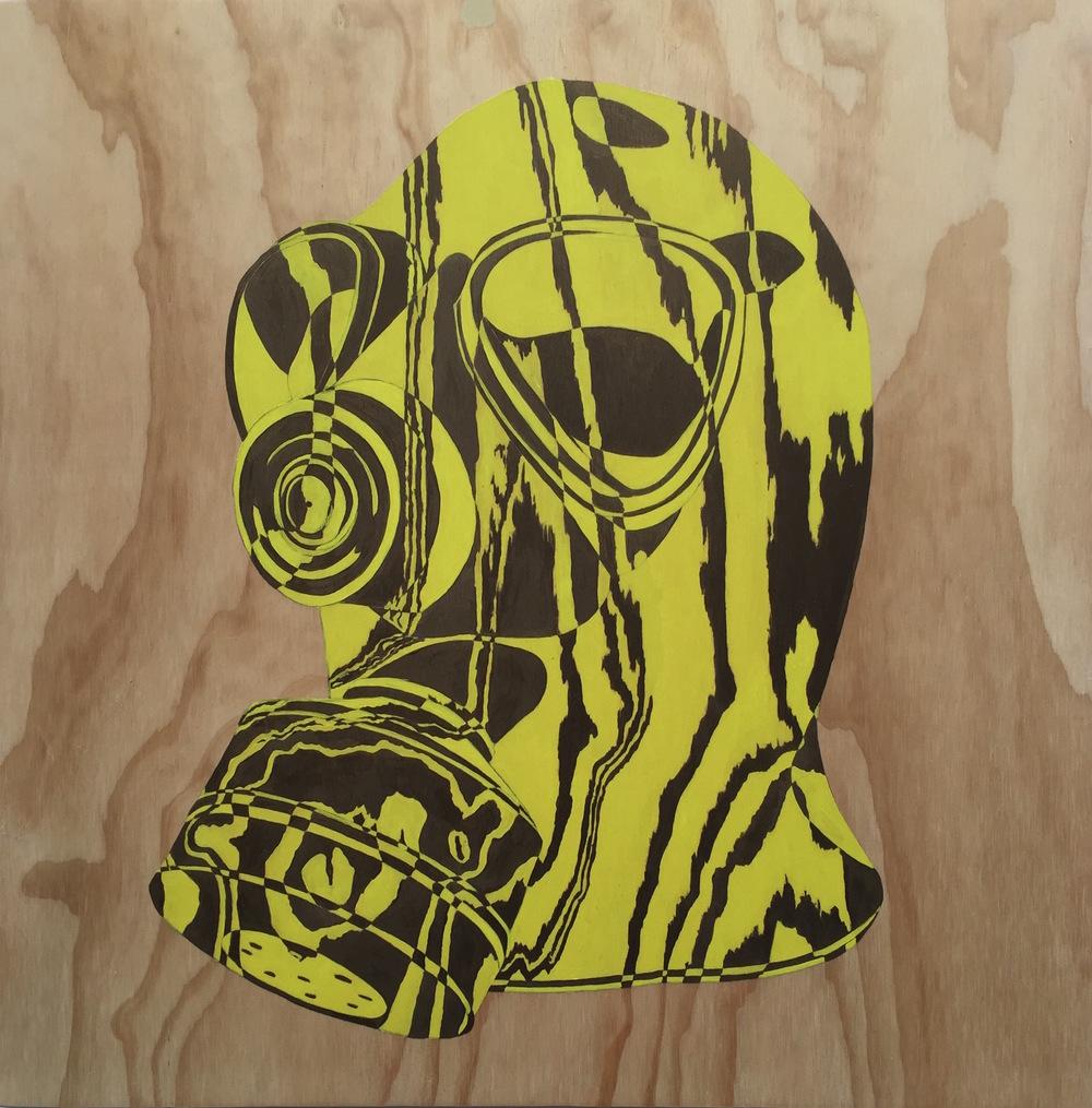 """Gas Mask IV, 2015 24"""" x 24"""", acrylic on plywood"""
