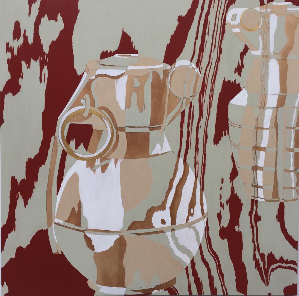 "Grenades I, 2015 24"" x 24"", acrylic on plywood"