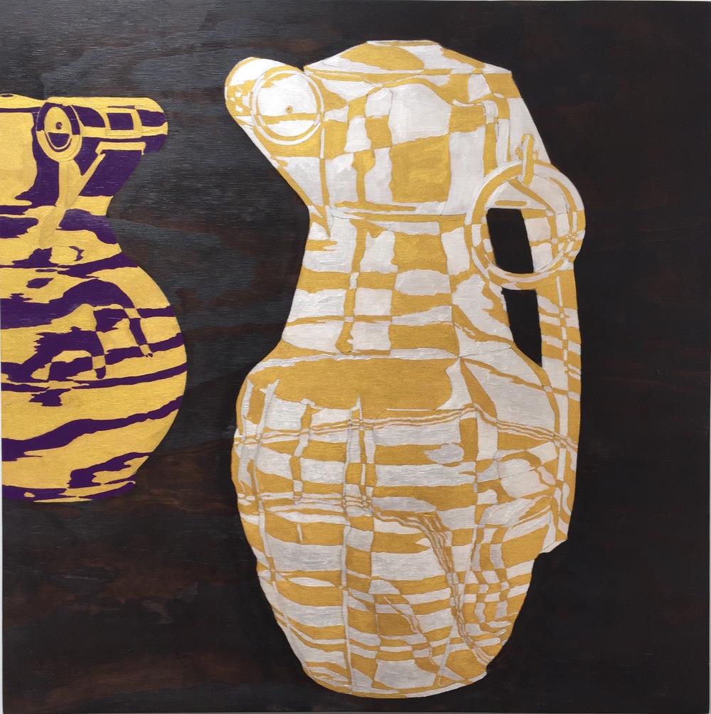 "Grenades II, 2015 24"" x 24"", acrylic on plywood"