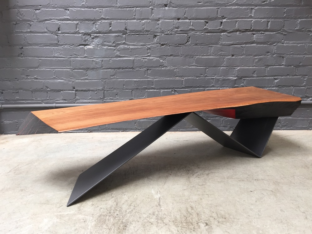 "Wedge Table  16 x 60 x 13"", elm, steel"