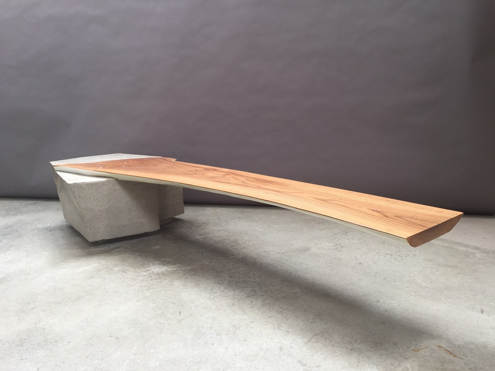 "Diving Board Table  14 x 82.5 x24"", elm, concrete"