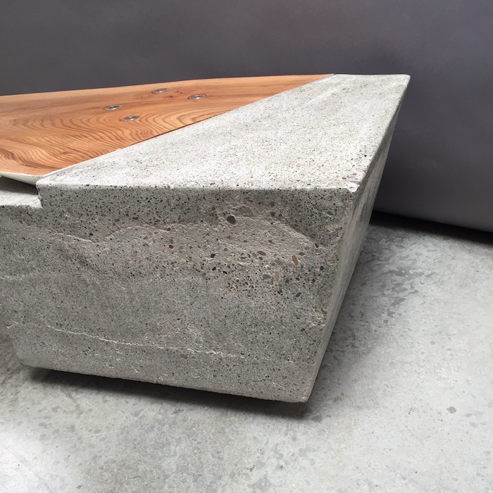 Diving Board Table   detail;   elm, concrete