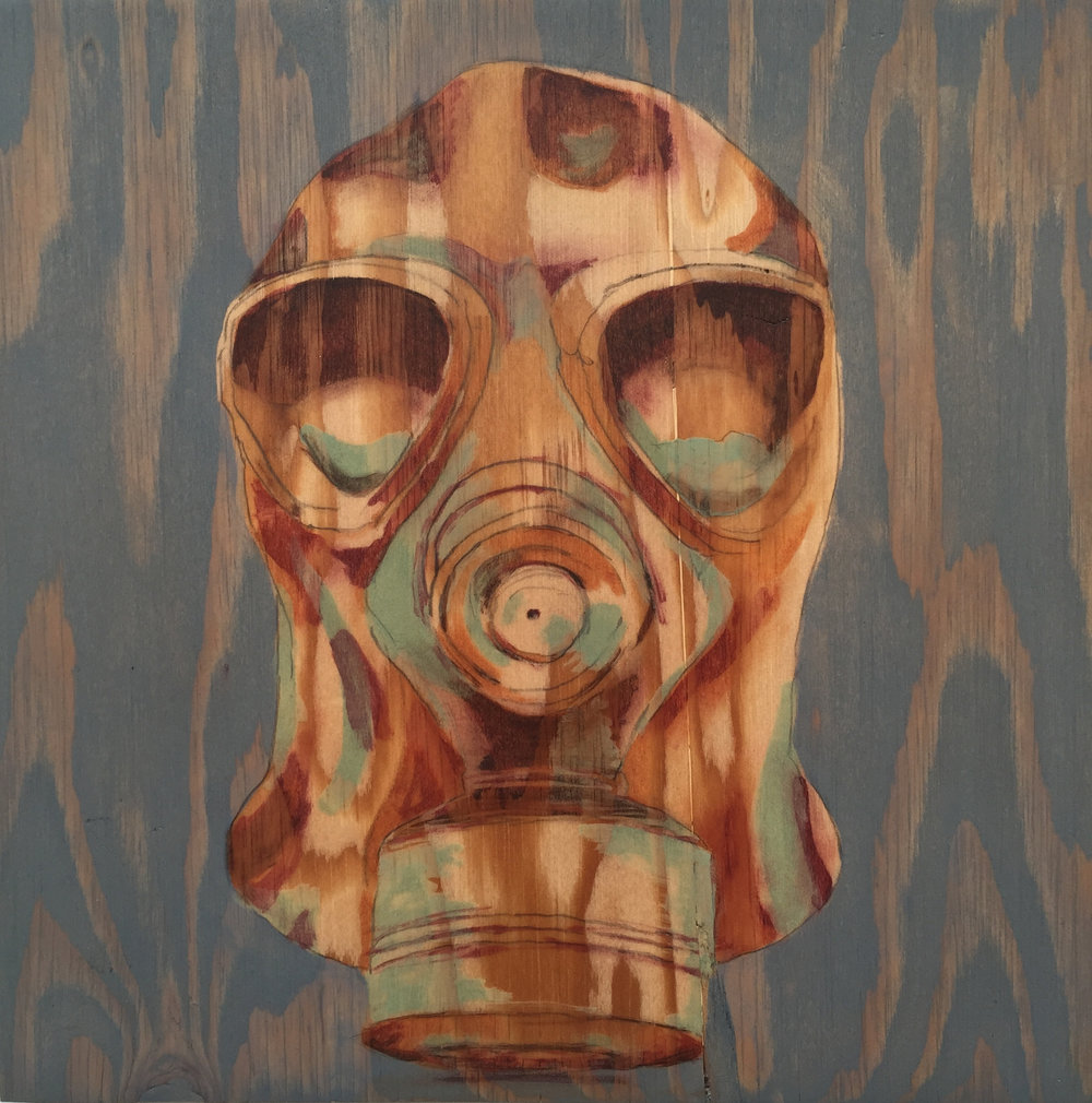 "Gas Mask  I                           9.5"" x 10""                             wood stain on plywood"