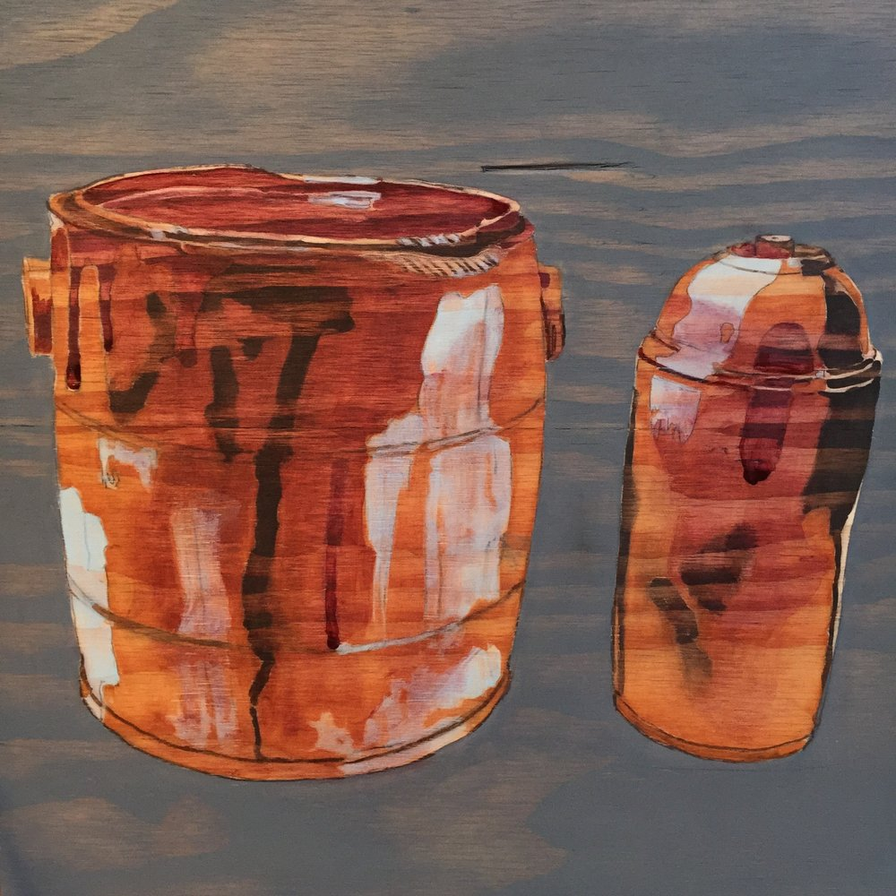 "Paint Bucket & Spray Can      16"" x 16""                              wood stain on plywood"