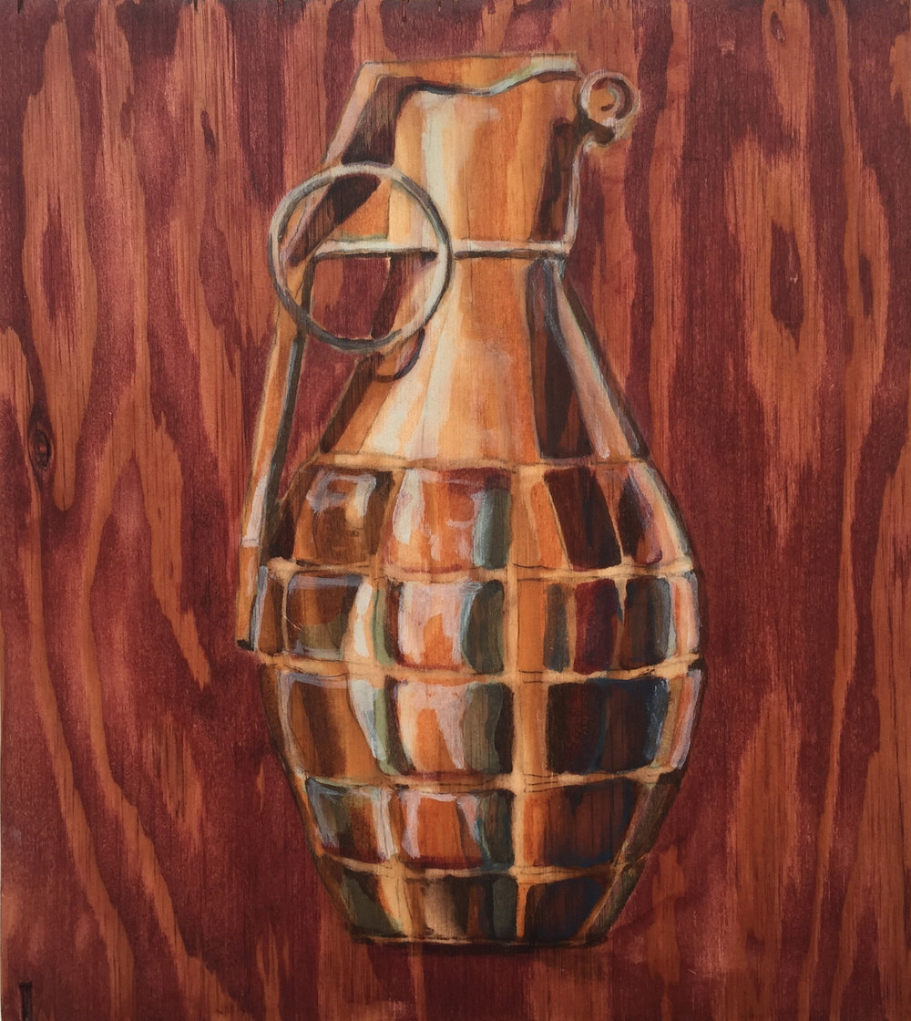 "Gas Mask                            16"" x 16""                             wood stain on plywood"