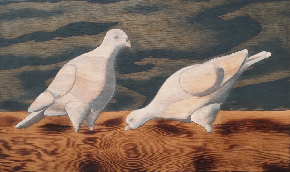 "Pigeons                                 12"" x 19.5""                             wood stain on plywood"