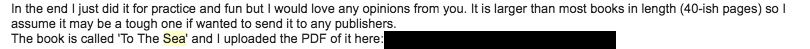 Piece of the initial email I sent to my Agent.