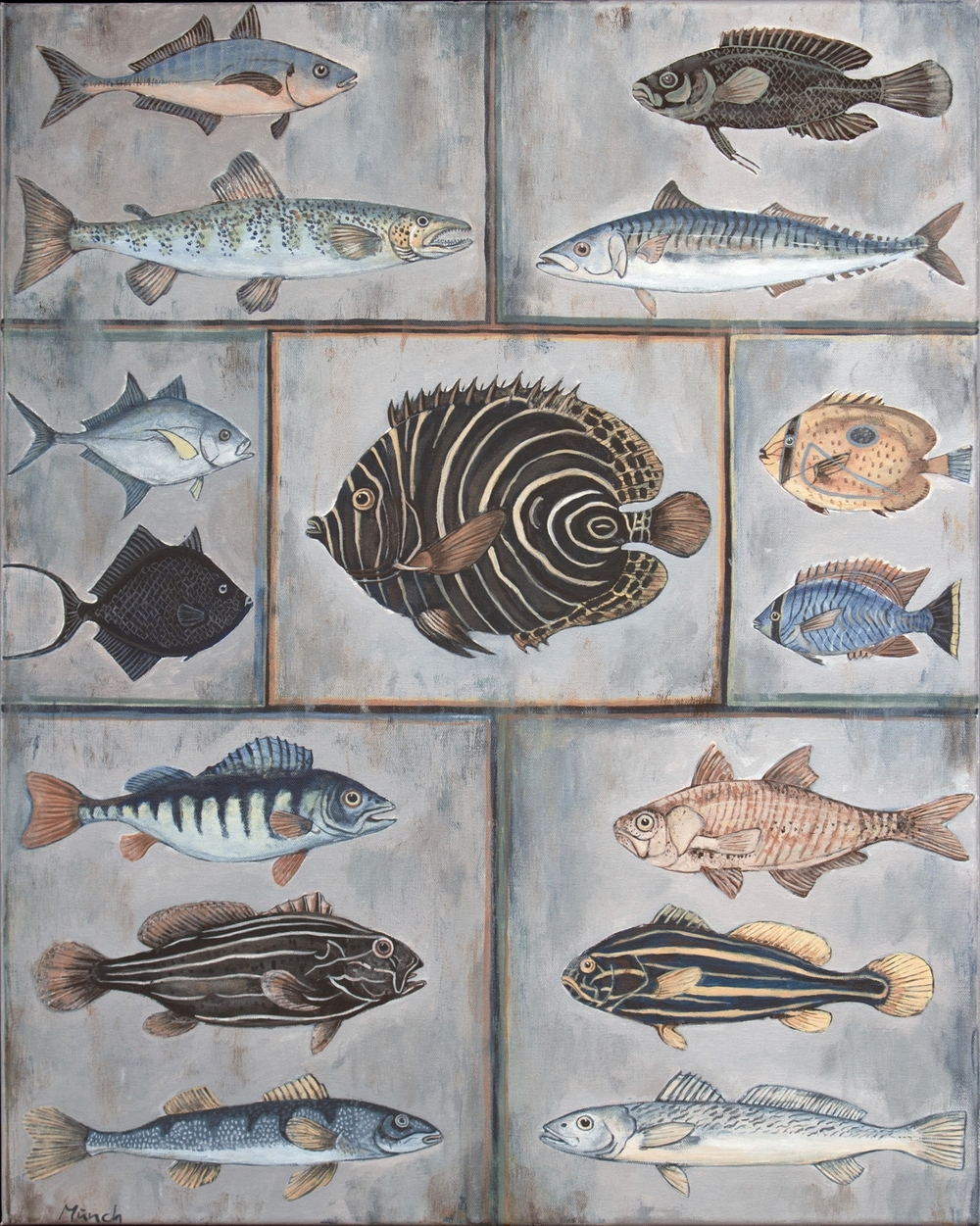 "fish specimen, 24""x30"", acrylic on canvas, 2015"