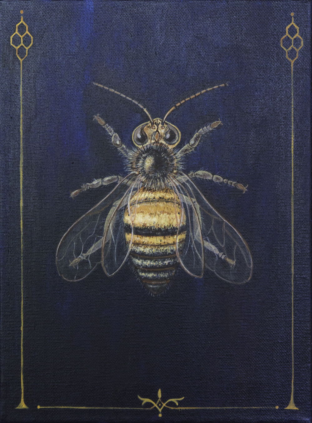"honeybee, 9""x12"", acrylic on canvas, 2015, sold"