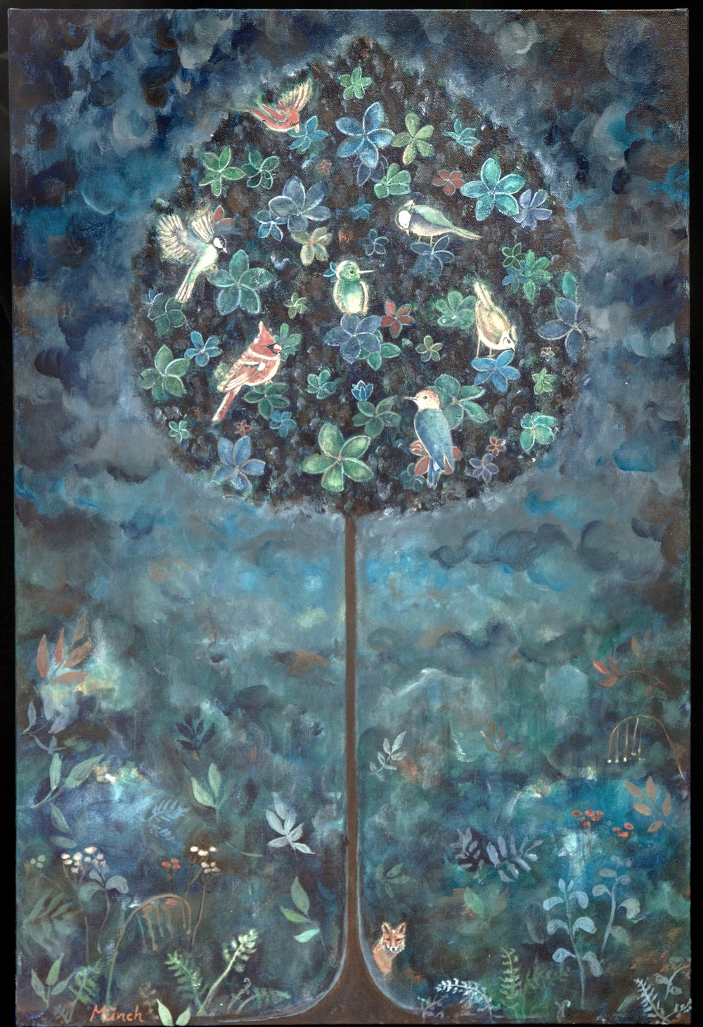 "bird tree, 24""x36"", acrylic on canvas, 2015, sold."