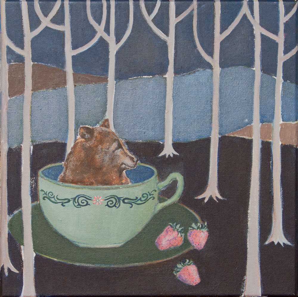 "bear in a cup, 12""x12"", acrylic on canvas, sold."