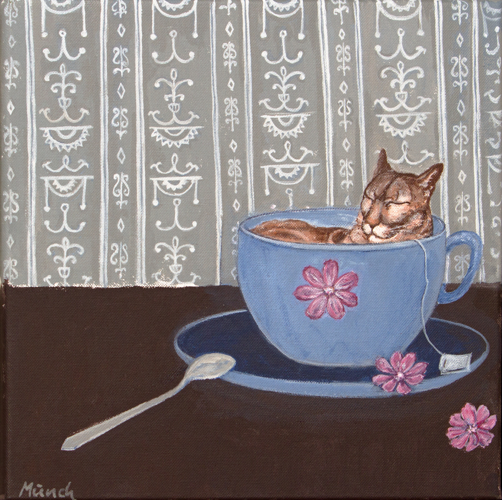 "cat in a cup, 12""x12"", acrylic on canvas"