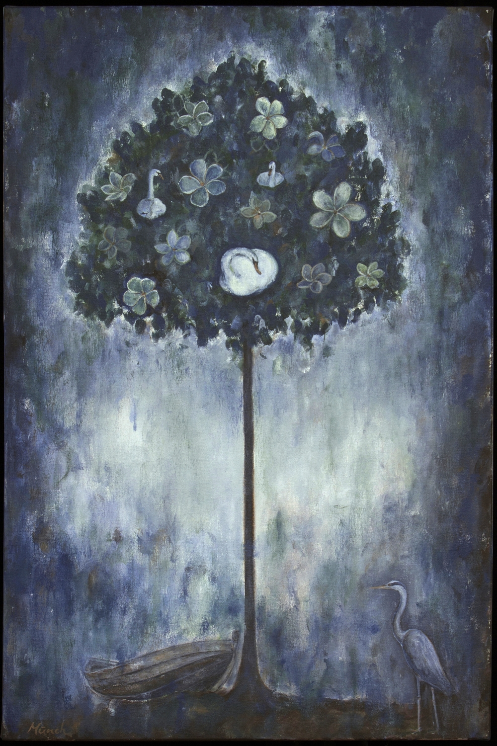 "swan tree, 24""x36"", acrylic on canvas, 2014, sold."