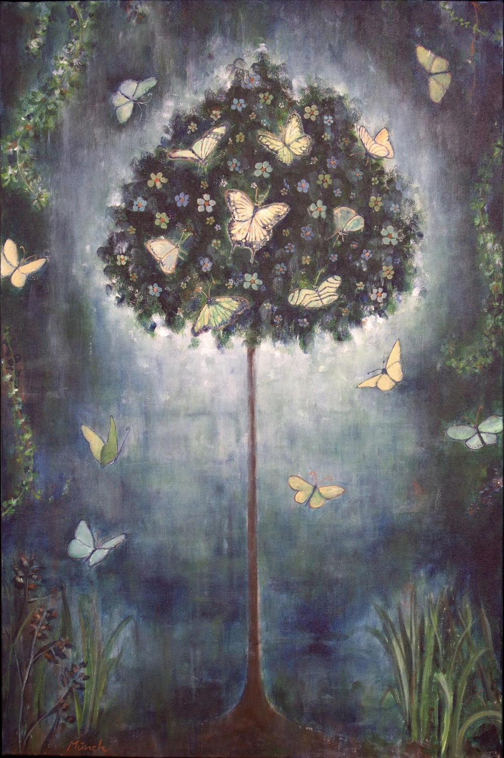 "butterfly tree, 24""x36"", acrylic on canvas, 2014"