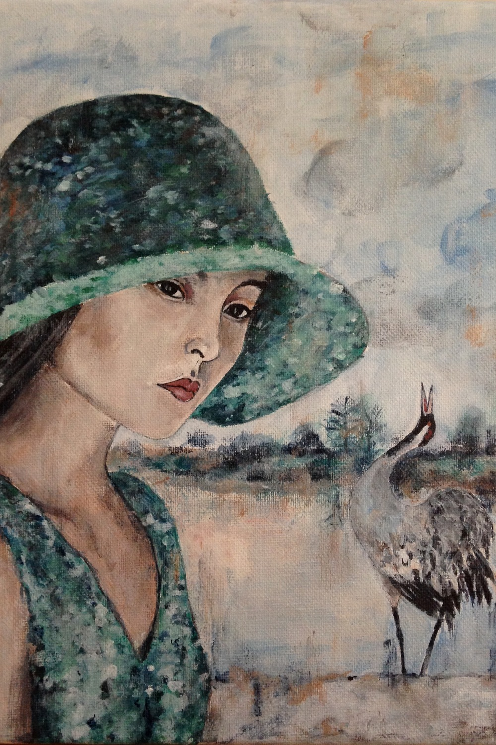 "woman with bird II, 9""x12"", acrylic on canvas, 2015"