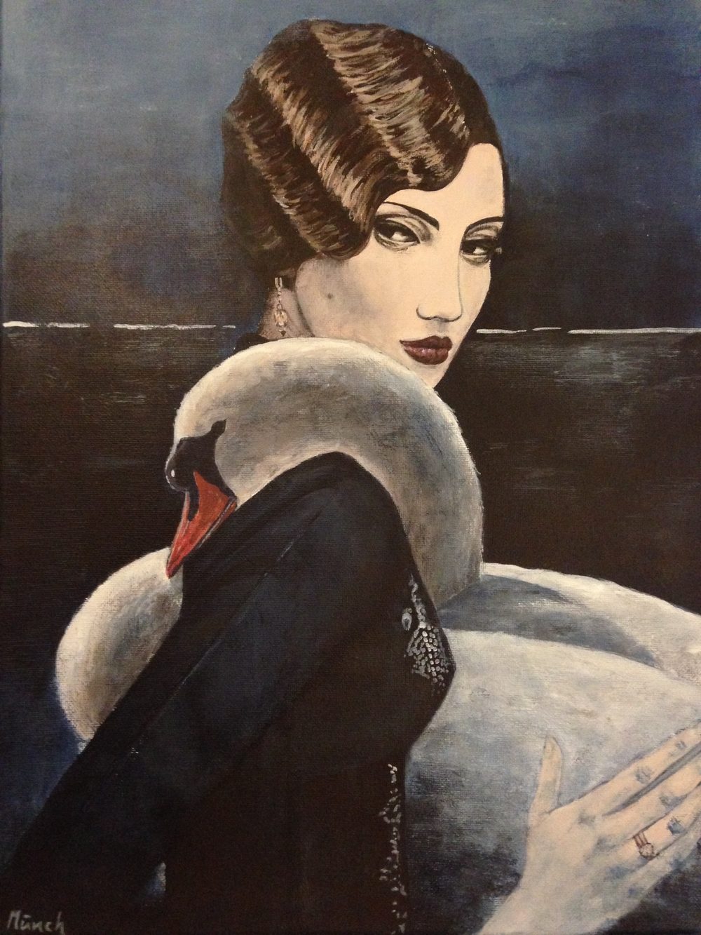 "woman with swan, 12""x16"", acrylic on canvas, 2016"