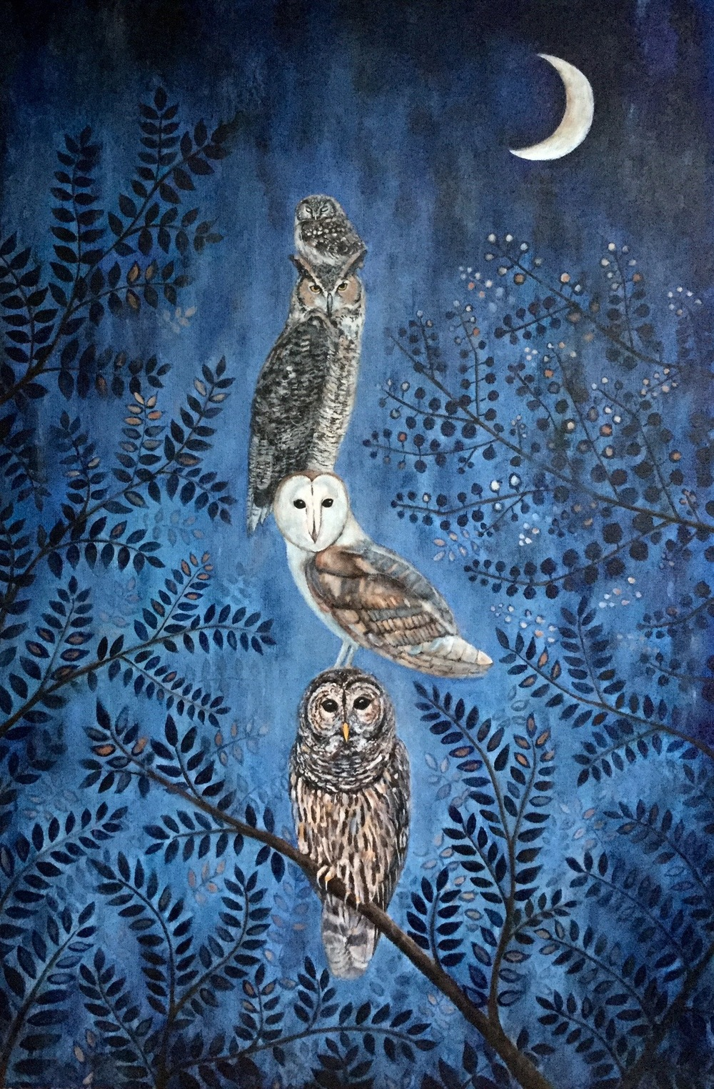 "night owls, 24""x36"", acrylic on canvas, 2015, sold"
