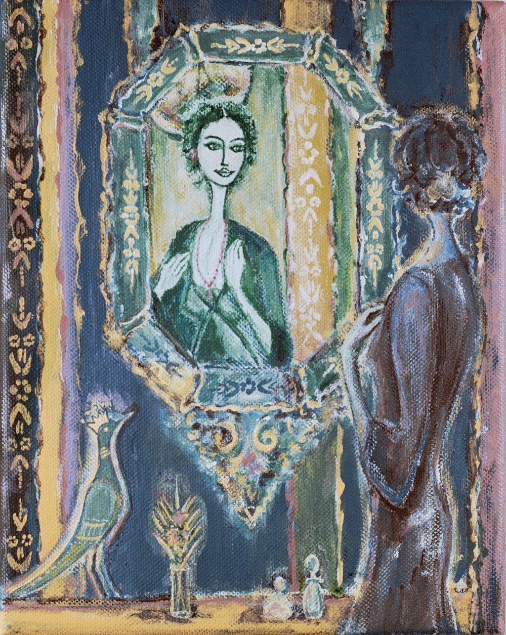 "woman in the mirror, 9""x12"", acrylic on canvas, 2010"