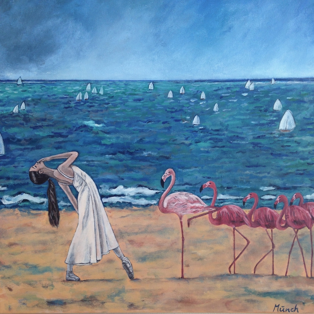 dance on the beach, 20''x20'', acrylic on canvas, 2016