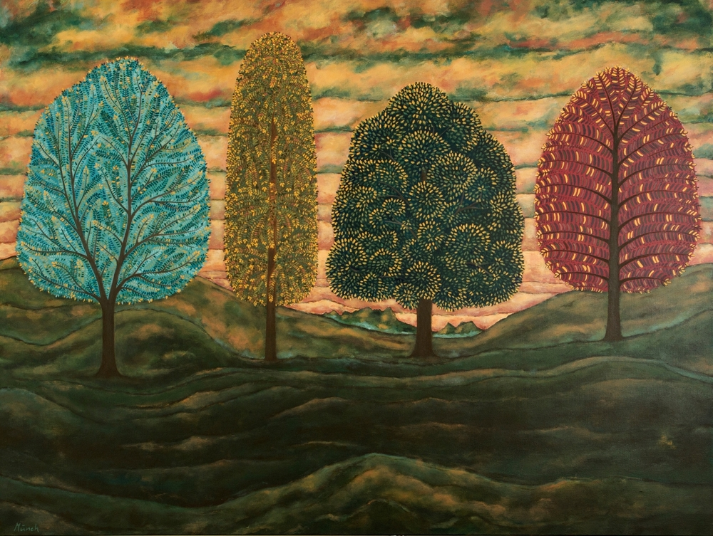 "four fall trees, 36""x48"", acrylic on canvas, 2015"