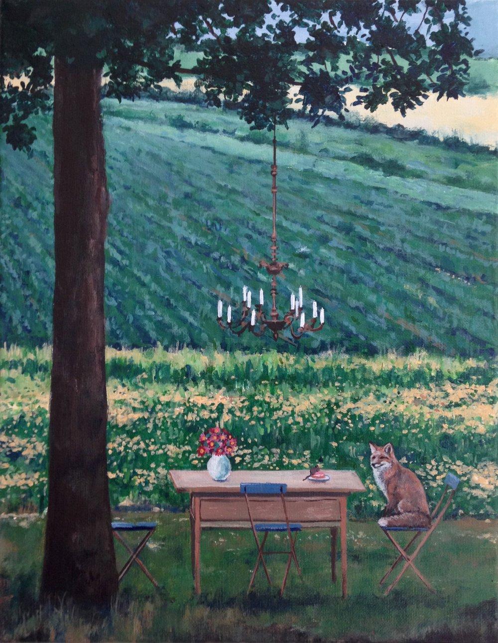 déjeuner sur l'herbe, 11''x14'', acrylic on canvas, 2016