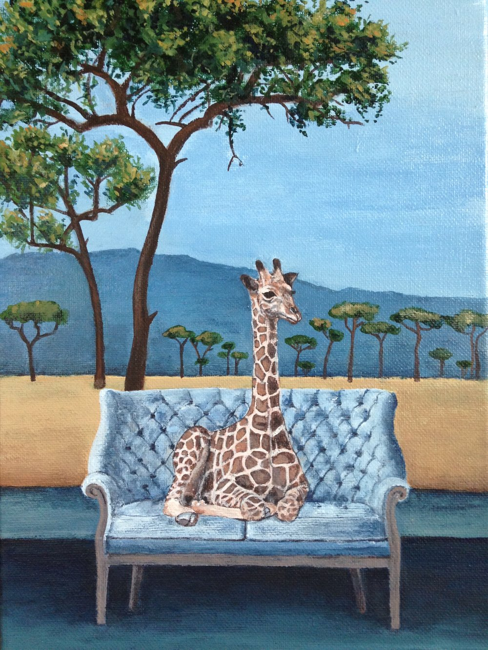 wise giraffe, 9''x12'', acrylic on canvas, 2016