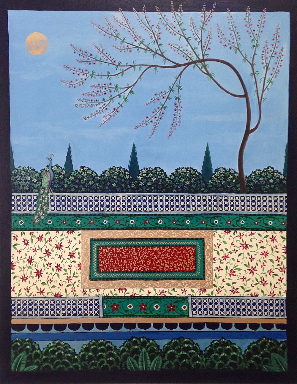 golden moon garden, 22''x28'', acrylic on canvas, 2016