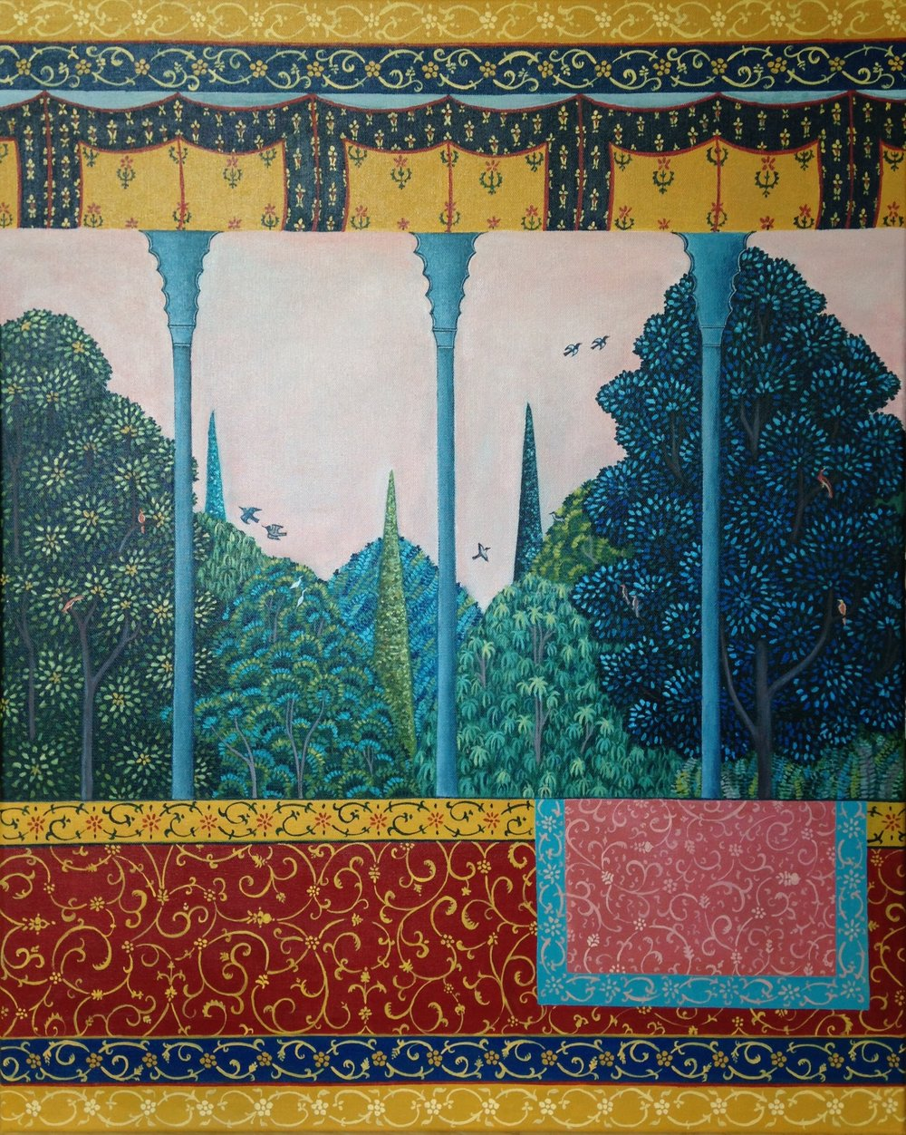dusk over the mafraj, 24''x30'', acrylic on canvas, 2016