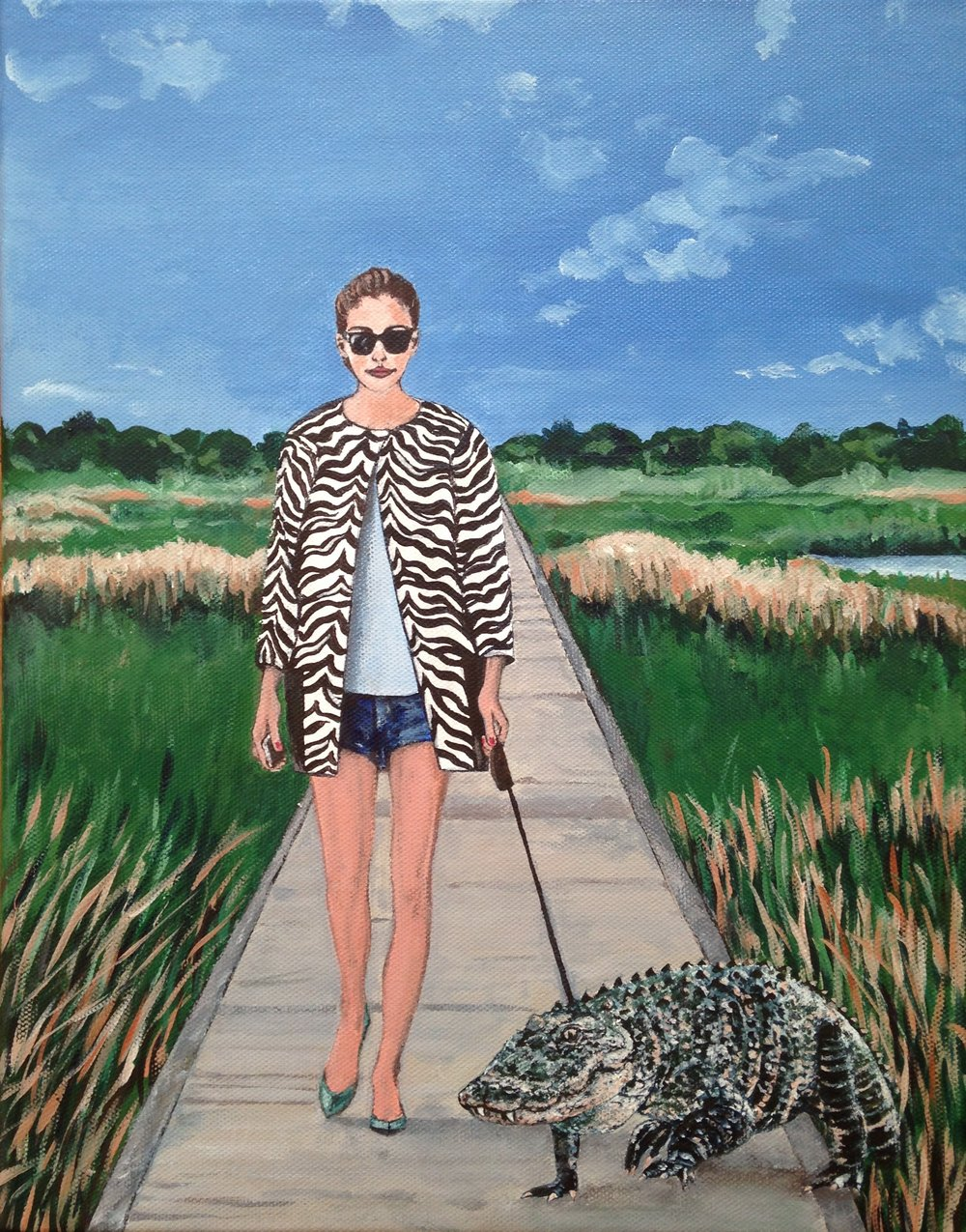 let's go for walkies! 11''x14'', acrylic on canvas, 2017