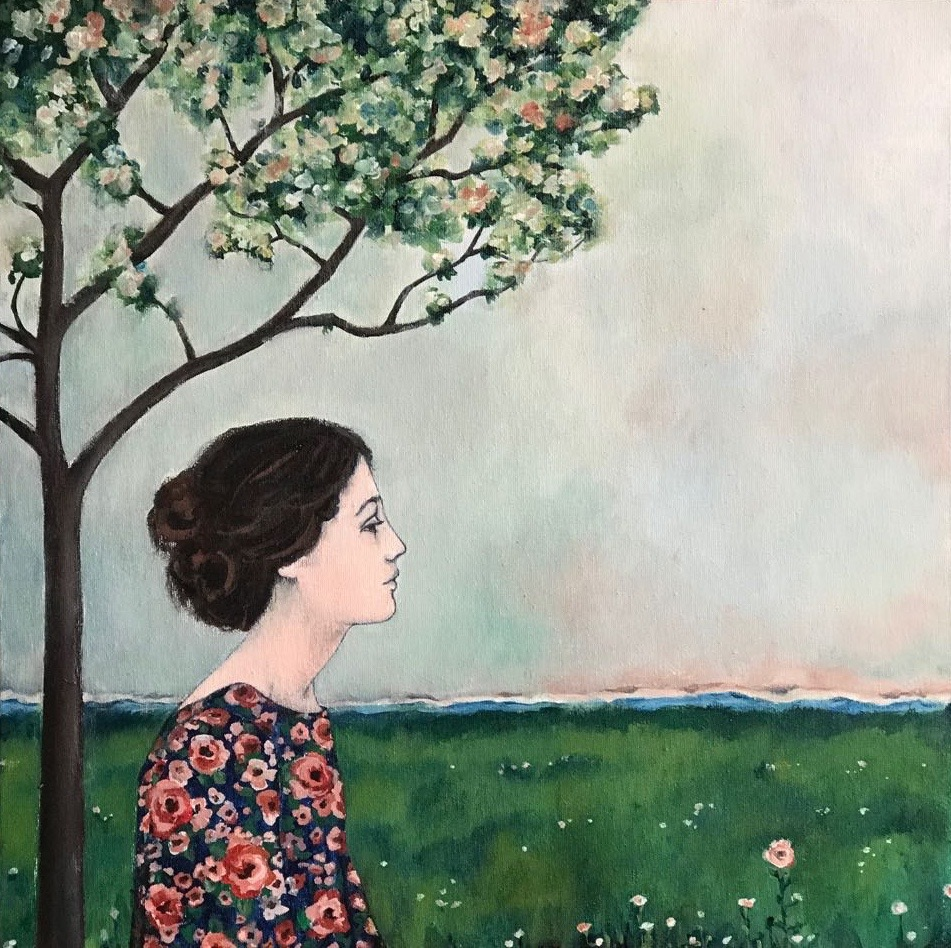 longing for spring, 20''x20'', acrylic on canvas, 2018