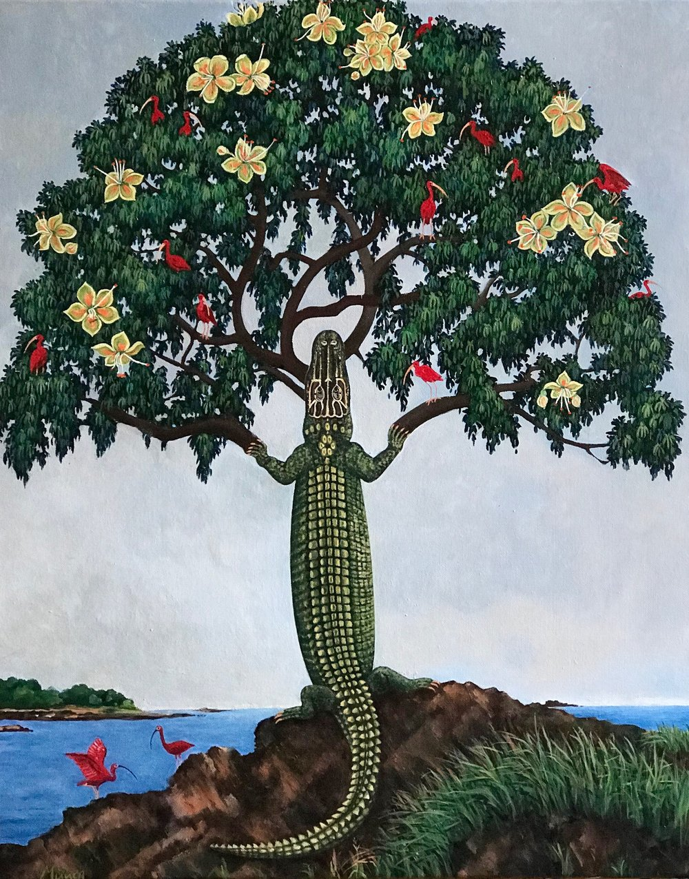 yaxche - Mayan world tree, 24''x30'', acrylic on canvas, 2018