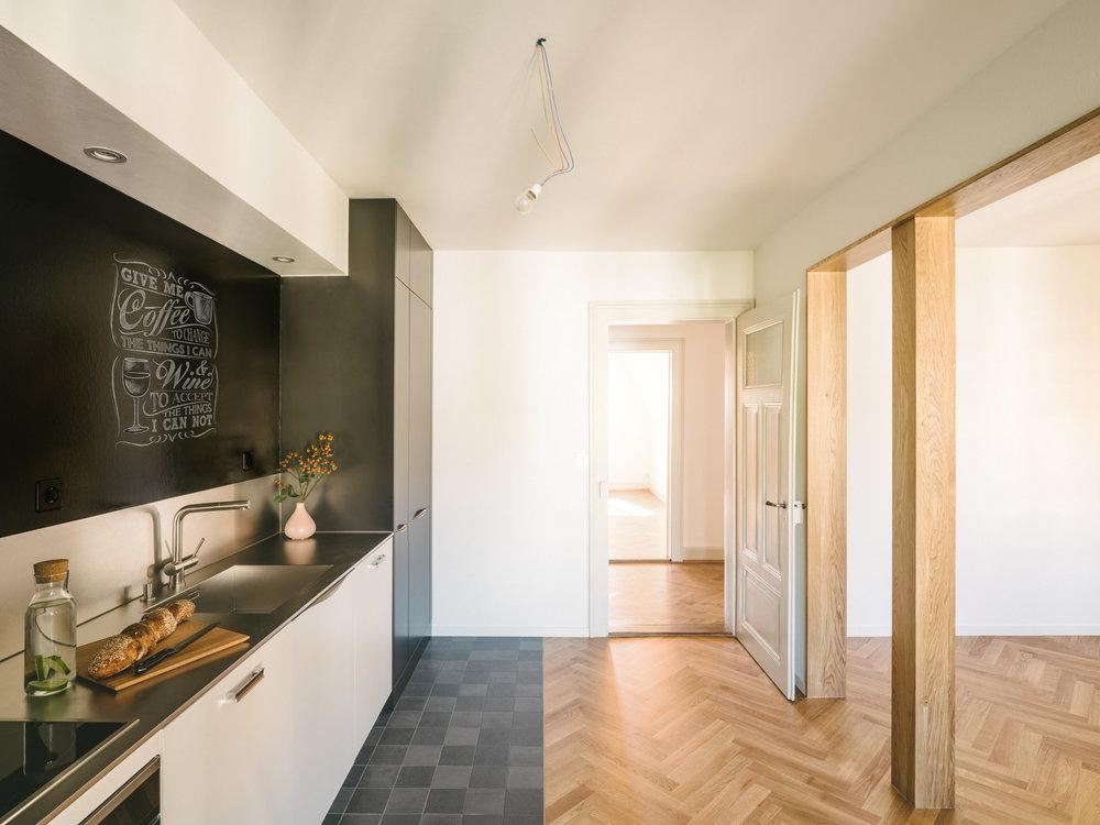 Umbau MFH Basel Offene Küchen, Consilium Architektur und Baumanagement