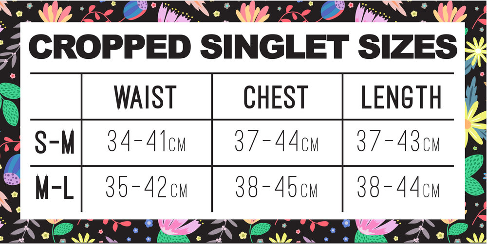 cropped singlet size chart
