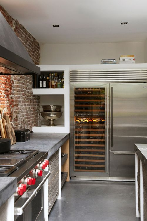 industrial-stainless-steel-kitchen-exposed-brick