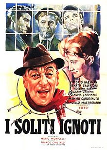 "BIG DEAL ON MADONNA STREET  is a 1958 Italian criminal-comedy film, directed by Mario Monicelli, and considered to be among the masterpieces of Italian cinema.  Its original title translates a journalistic euphemism for ""unidentified criminals"". The film is a comedy about a group of small-time thieves and ne'er-do-wells who bungle an attempt to burgle a state-run pawn shop (Monte di Pietà, in Italian) in Rome"