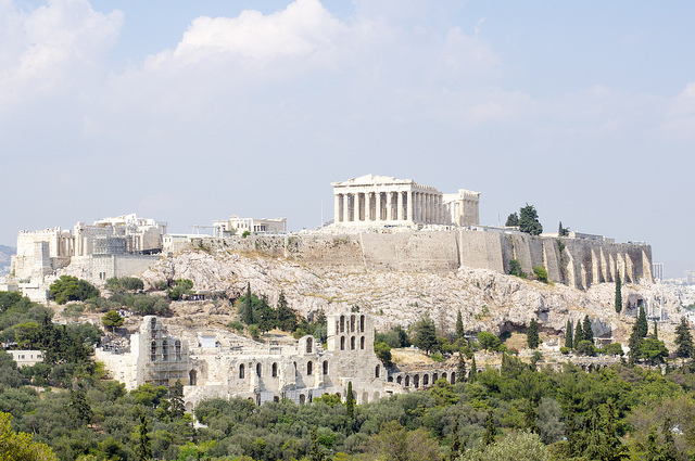 acropolis parthenon erechthio odeon of herodes atticus athens greece