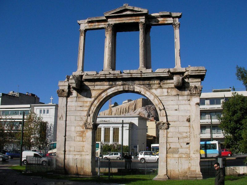 Hadrian's Arch (Αψίδα του Αδριανού) in Athens, built 131 or 132 AD