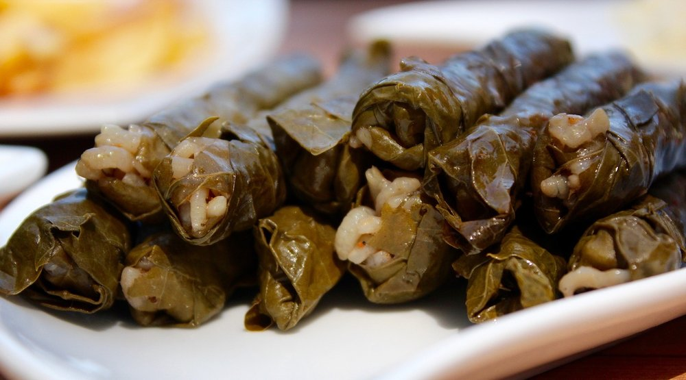 Rice in vine leaves dolmades for the Greek food connoisseurs!