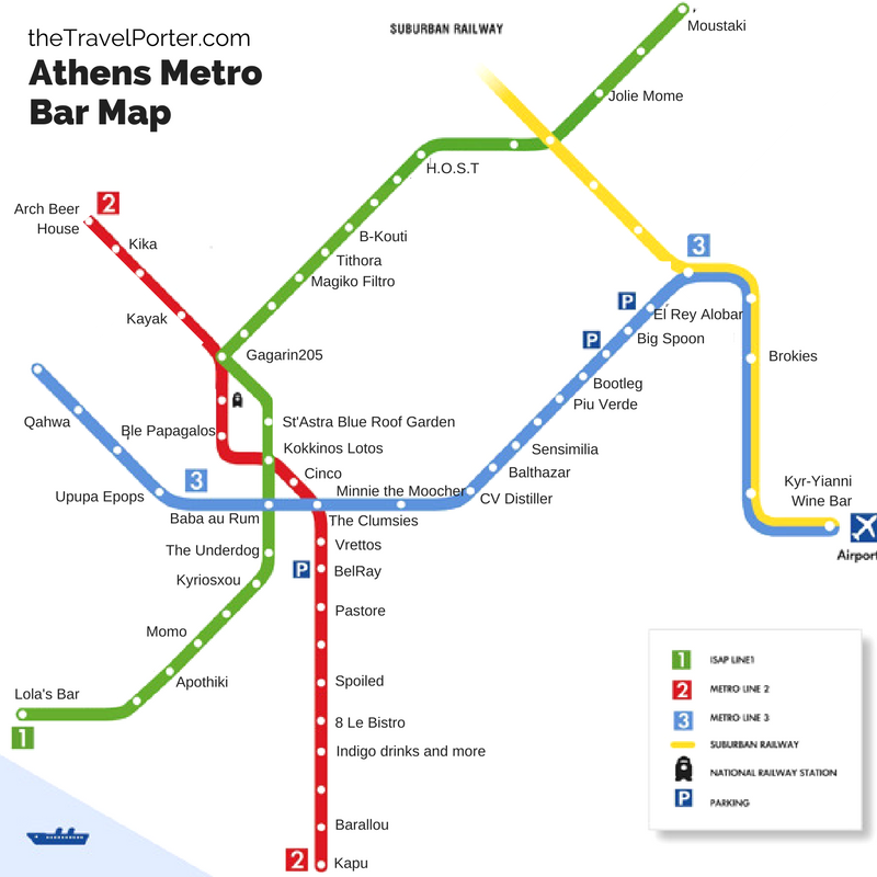 Athens Subway Map.The Ultimate Bar Crawl Athens First Ever Metro Bar Map The