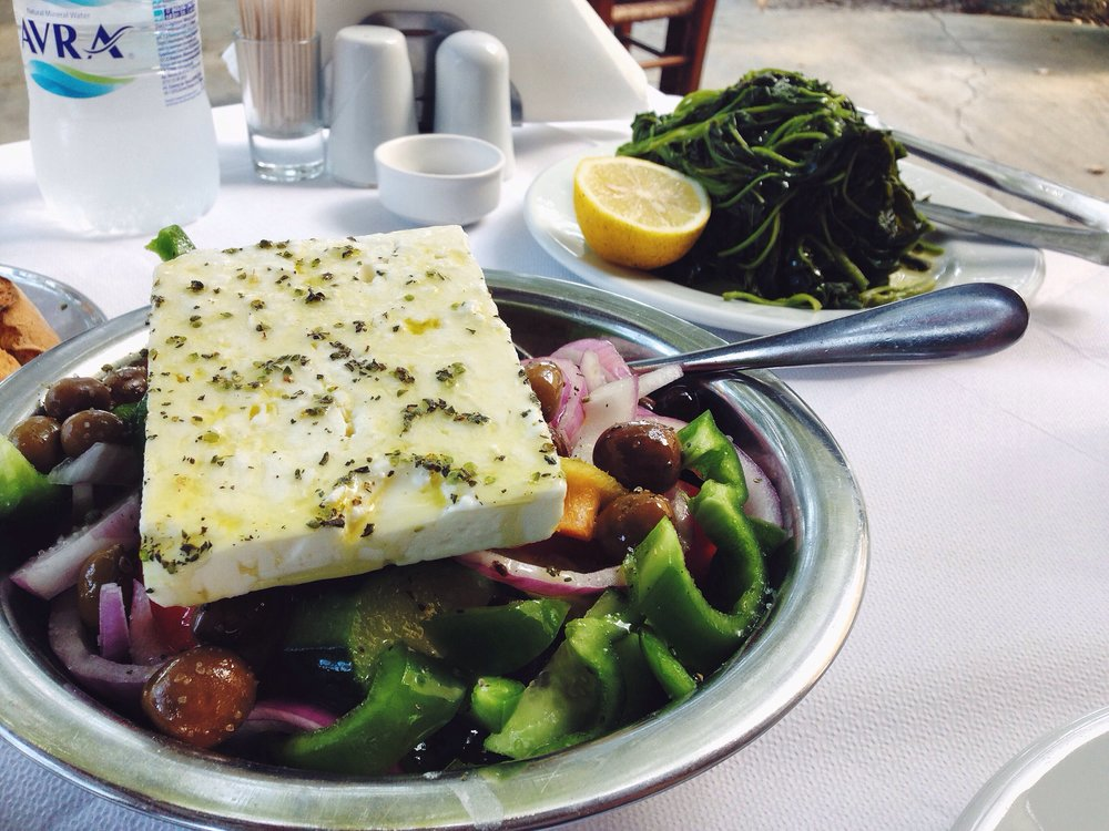 Feta cheese & fresh veggies - Greek staples modern & ancient! (Photo by Katherine Poseidon)