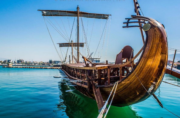 Ancient Greek Trireme in Flisvos Marina (Picture by alexkapellakis/Instagram)