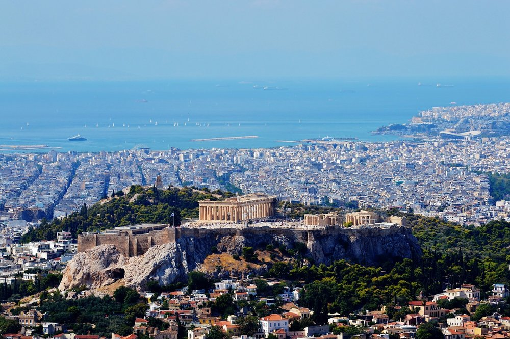 Stunning view of Athens and Piraeus from Lycabettus hill