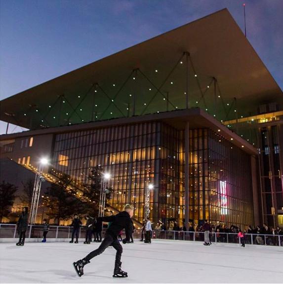 The magical ice skating rink at the SNFCC (Photo by  @karanikolas  via Instagram)