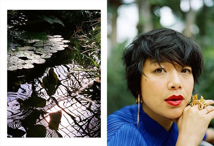 Mai Hua , blogueuse et réalisatrice, porte les boucles d'oreilles et la bague 'Hycliad' (2016), photos de Marion berrin.