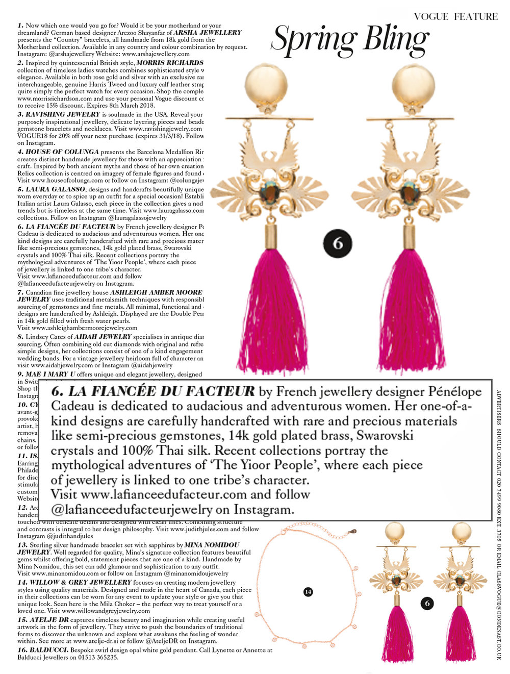 Nanjiy Earrings, 2018 Collection (Vogue UK)